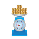 Coins on the scales. Royalty Free Stock Photo