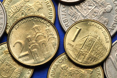 Coins of Serbia. Gracanica monastery in Kosovo and the building of the National Bank of Serbia in Belgrade depicted in Serbian dinar coins Stock Photo
