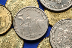 Coins of Serbia. Krusedol monastery in Vojvodina, Serbia, depicted in Serbian five dinars coin Stock Photos