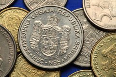 Coins of Serbia. Serbian national coats of arms depicted in Serbian dinar coins Stock Photography