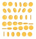Coins set of vector sprites for rotation in different projections. Isolated gold coin set. For mobile, desktop and web. Applications and games. Digital currency Stock Photo