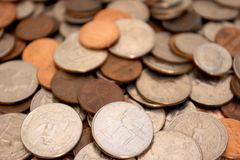 Coins (Shallow Depth of Field). US Coins royalty free stock image