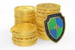 Coins with shield, financial insurance and business. Stability concept Stock Photo