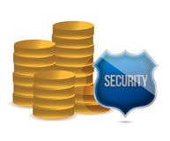 Coins shield security concept illustration. Design over white Stock Image