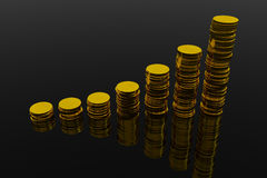 Coins showing profit and gain. On black glossy surface. 3D render image Royalty Free Stock Photos