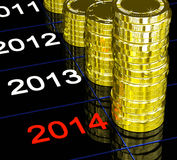 Coins On 2014 Showing Upcoming Finances. Or Economy vector illustration