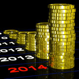 Coins On 2014 Shows Financial Expectations. Or Goals Stock Photo