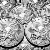 Coins of Silver Eagles Stock Photo