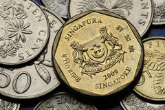 Coins of Singapore. National coat of arms of Singapore depicted in Singapore one dollar coin Stock Images