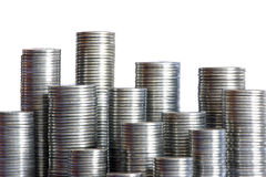 Coins skyscrapers Stock Image