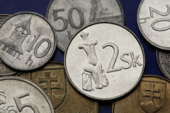 Coins of Slovakia. Primeval statuette of Venus of Hradok depicted on the Slovak two koruna coin