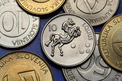 Coins of Slovenia. Horse (Equus) depicted on the Slovenian 10 tolar coin