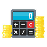 Coins & Small Calculator Flat Icon on White Stock Photo