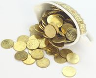 Coins in a small saucer bowl Stock Image