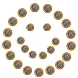 Coins smiley face on white royalty free stock photos