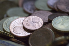 Coins. Some of euro cent coins royalty free stock image