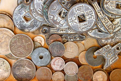 Coins and souvenirs Stock Images