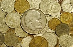 Coins of the Soviet union. Now it-antiques. Them remains a little Stock Photos