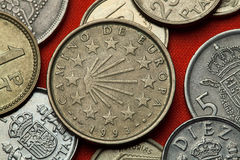 Coins of Spain. Camino de Santiago Stock Photography
