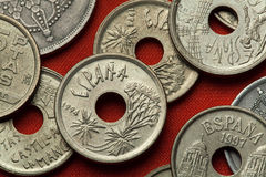 Coins of Spain. Canary Islands Dragon Tree Royalty Free Stock Images