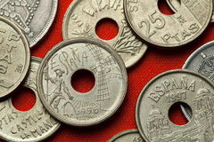 Coins of Spain. Don Quijote and Windmill stock photography