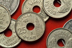 Coins of Spain. Giralda Tower in Seville Stock Images