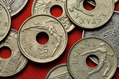 Coins of Spain. High jumper and discus thrower Stock Images
