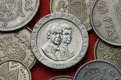 Coins of Spain. King Juan Carlos I and Crown Prince Felipe. Of Spain depicted in the Spanish 200 peseta coin (1990 stock photography