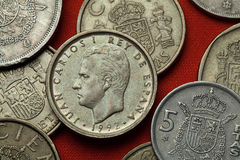 Coins of Spain. King Juan Carlos I. Of Spain depicted in the Spanish 100 peseta coin (1992 Royalty Free Stock Photo