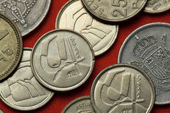 Coins of Spain Stock Images