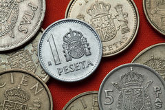 Coins of Spain. Spanish national emblem Royalty Free Stock Photos