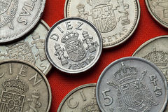 Coins of Spain. Spanish national emblem Stock Images