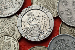Coins of Spain. Spanish painter Mariano Fortuny. Stock Photo