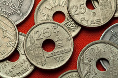 Coins of Spain. Torre del Oro in Seville. Andalusia, Spain depicted in the Spanish 25 peseta coin (1992 royalty free stock photography
