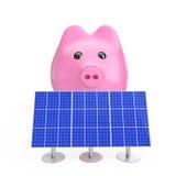 coins sparande för stapel för begreppshandpengar skyddande Spargris med blåa solpaneler 3d sliter Royaltyfri Foto