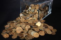 Coins spill Stock Photo