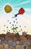Coins Sprout. A sprout comes out watering different coins from all over the world. Plasticine and 2d graphic composition Royalty Free Stock Photography