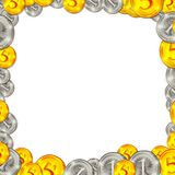 Coins square background frame illustration Royalty Free Stock Photography