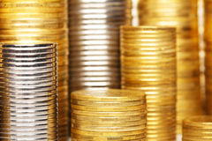 Coins stack background Stock Images