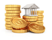 Coins stack and bank building.  Royalty Free Stock Image