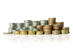Coins stack  clipping path. Stock Photo