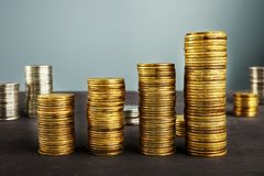 Coins stack. Financial growth. Wealth management. Royalty Free Stock Photos