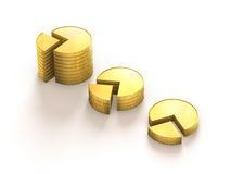 Coins stack graphic presentation Royalty Free Stock Photography