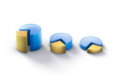 Coins stack graphic presentation Royalty Free Stock Image