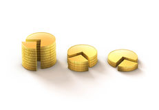 Coins stack in graphic shape economy Royalty Free Stock Images