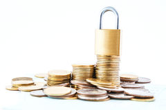 Coins stack  lock Royalty Free Stock Photography