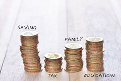 Coins stack in row with tittle Royalty Free Stock Images