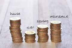 Coins stack in row with tittle. Coins stack in row with label on wooden background, financial concept. Focus on foreground with blur background Stock Images