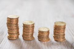 Coins stack in row Royalty Free Stock Photos