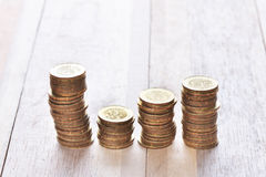 Coins stack in row Royalty Free Stock Photography